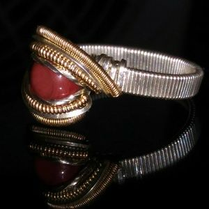 Jewelry - Silver and gold wirewrapped glass ring